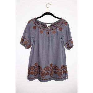 Sundance | Gray Embroidered Peasant Blouse PXS